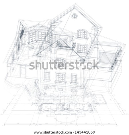 Architectural background with a 3D building model. Vector illustration - stock vector