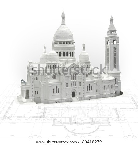 Architectural background with a 3D model of Basilica of the Sacred Heart of Paris - stock vector
