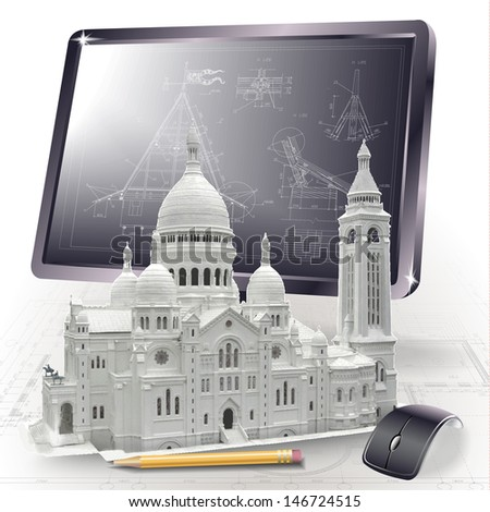 Architectural background with a 3D model of Basilica of the Sacred Heart of Paris and a monitor - stock vector