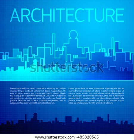 Architectural background with cityscape in doodle style and blue color vector illustration