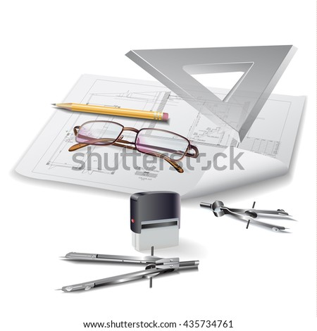 Architectural background with drawing tools and drawings. Vector clip-art - stock vector