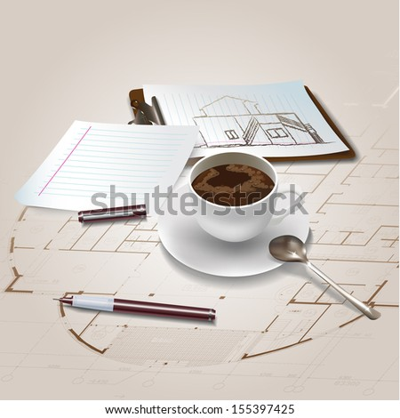 Architectural background with drawing tools and drawings. Vector illustration - stock vector