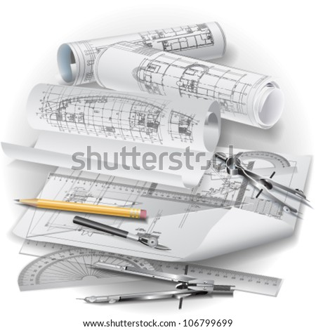Architectural background with drawing tools and rolls of drawings. Vector clip-art - stock vector
