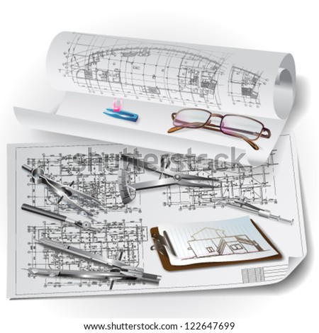 Architectural background with drawing tools and rolls of drawings. Vector illustration
