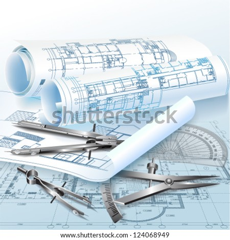 Architectural background with drawing tools and rolls of drawings. Vector illustration - stock vector