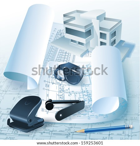 Architectural background with office tools and a 3D building model. Part of architectural project, architectural plan, technical project, construction plan  - stock vector