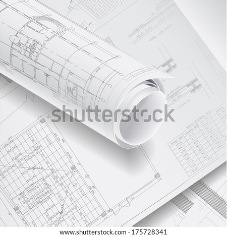Architectural background with rolls of drawings. Vector clip-art - stock vector