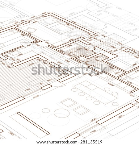 Architectural blueprint. - stock vector