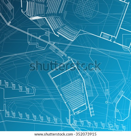 Architectural blueprint. Vector background.