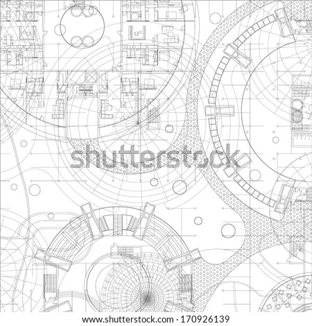 Architectural blueprint. Vector drawing background. - stock vector