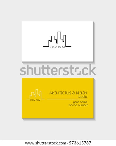 Architectural Business card. Vector design templates trendy linear style.  Architecture studios, interior icons