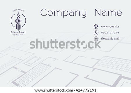 Architectural business card. Vector editable template with technical plan and contact icons   - stock vector