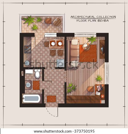 Architectural Color Floor Plan One Bedroom Apartment. Architectural Color Floor Plan Bedrooms Apartment Stock Vector