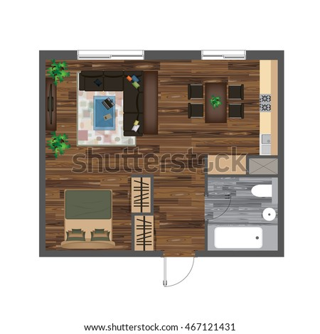 Architectural Color Floor Plan. Studio Apartment Vector Illustration. Top  View Furniture Set. Living Part 92