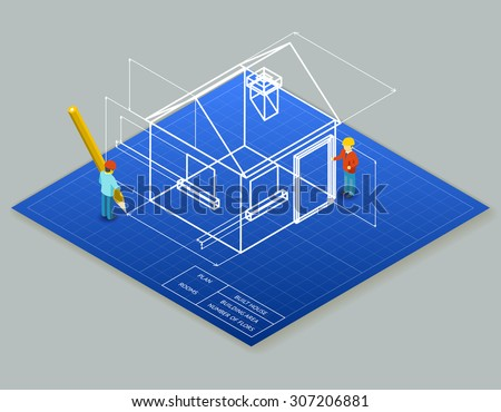 Architectural design blueprint drawing 3d isometric illustration. Project construction house, vector plan home - stock vector