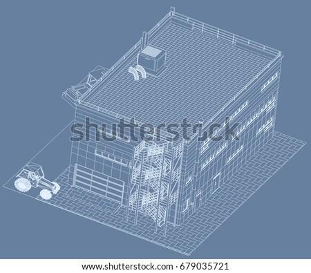 architectural design blueprint. Architectural Design, Blueprint, Public Building, Exhibition Hall. Construction Machinery, Cranes, Design Blueprint