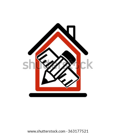 Architectural design conceptual symbol, simple vector house icon with edit pencil and measuring line. Design construction and engineer graphic element.   - stock vector