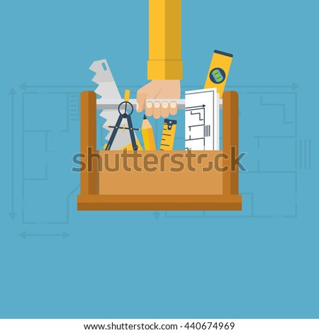 Architectural designer, engineer holding a box with a tool for beginning of construction. Plan, sketch construction, repair, restoration. Vector illustration flat design style. Template, banner. - stock vector