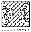 architectural detail for forged fence black and white - stock vector