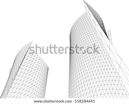 Architectural drawing. 3d building
