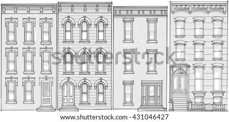 Architectural Drawing Facade Stock Vector 431046427
