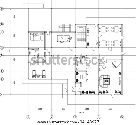 Architectural Drawing House Autocad Vector Stock Vector