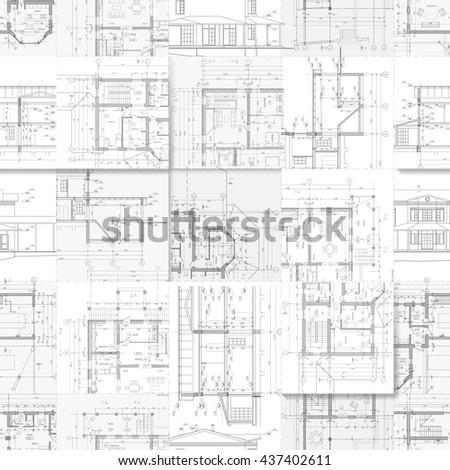 Architectural Drawings Set Facades Building Plans Stock Vector