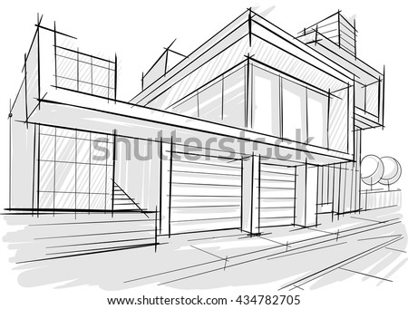Architect Buildings Sketches architecture sketch stock vector 225873019 - shutterstock