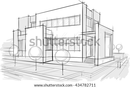 Architectural Drawing Sketch architectural drawings sketches stock vector 434782711 - shutterstock