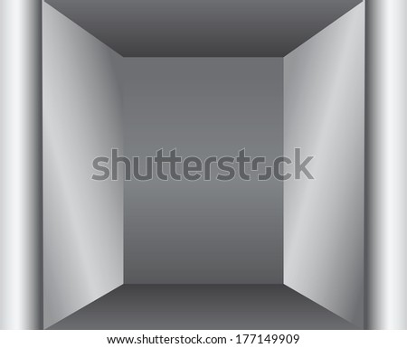 Architectural element of the interior - a narrow niche. Vector illustration.