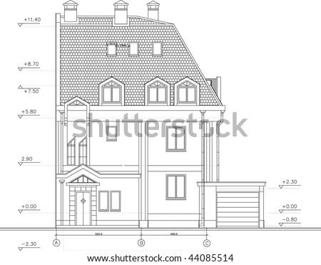 Architectural facade drawing - stock vector