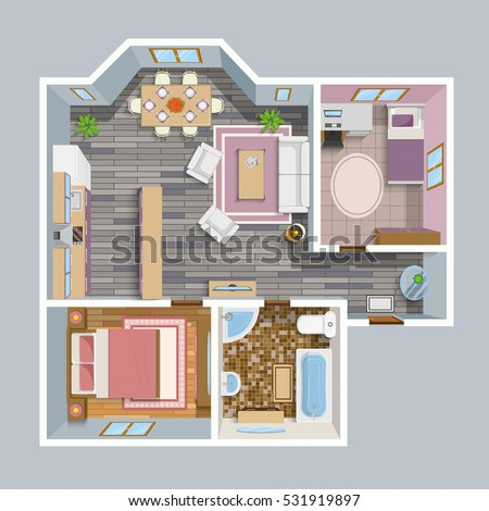 Architectural flat plan top view living stock vector for Apartment floor plans vector