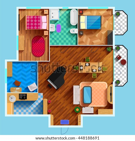 Architectural floor plan of house with two bedrooms living room kitchen bathroom and furniture flat vector illustration  - stock vector