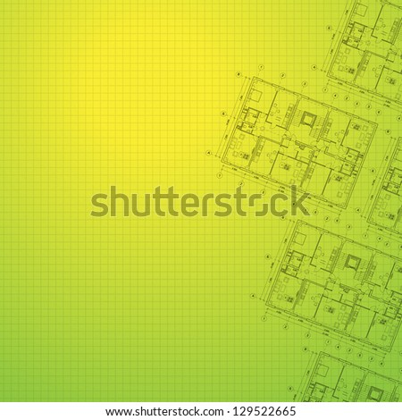 Architectural green background. Vector illustration, eps10, contains transparencies, gradients and effects. - stock vector