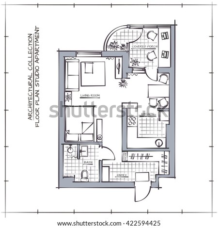 Vector Plan Apartment On Color Background 81201358