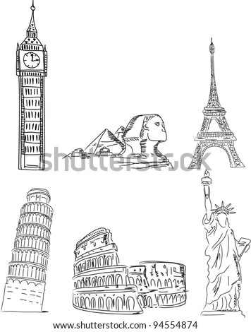 Architectural monuments, Leaning Tower of Pisa, the Eiffel Tower, Big Ben, the Colosseum, the pyramids, the Statue of Liberty - stock vector