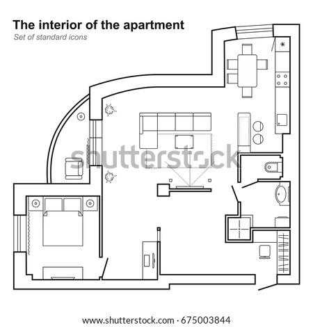 Architectural Plan Of A House In Top View. Floor Plan With Furniture.  Interior Design