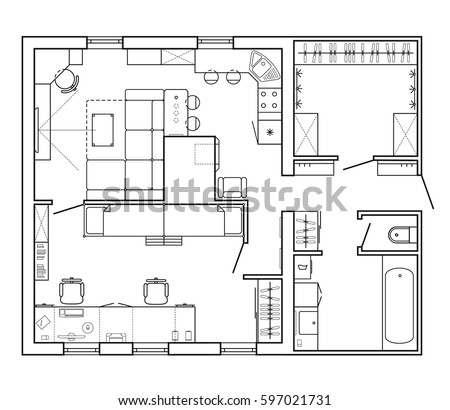 Black White Architectural Plan House Layout Stock Vector 592429499 ...