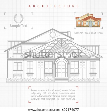 Architectural Plan Building Facade Terrace Cottage Stock Vector HD