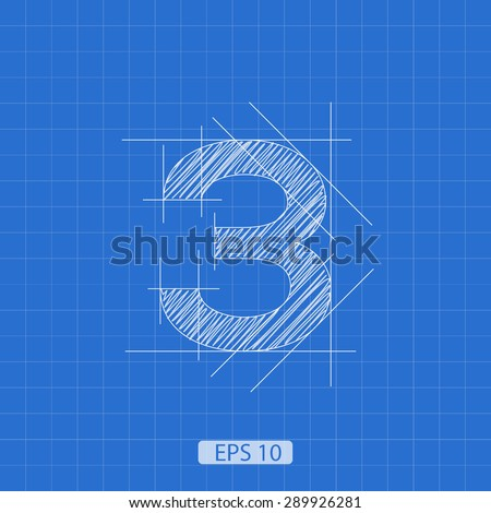 architectural plan three numbers on a blue background - stock vector