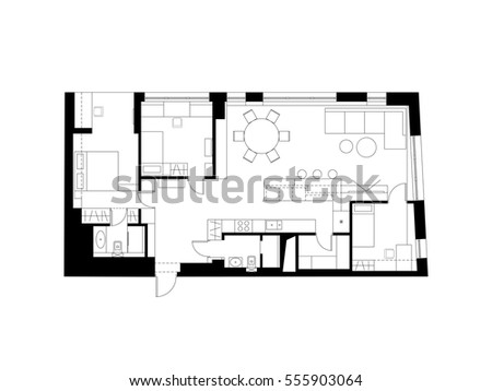 Architectural Plan Furniture Modern House Stock Photo Photo Vector