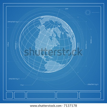 Architectural plans for the planet earth. - stock vector