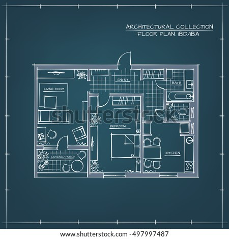 Architectural professional sketch vector blueprint floor stock architectural professional sketch vector blueprint floor plan one bedroom apartment malvernweather Image collections