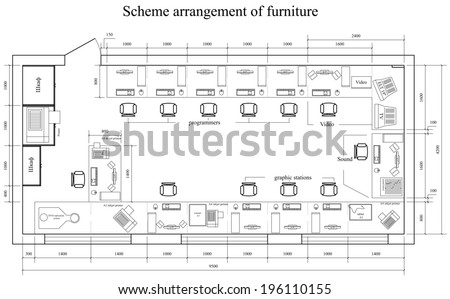 Architectural scheme arrangement of furniture and office equipment in office. Vector format - stock vector