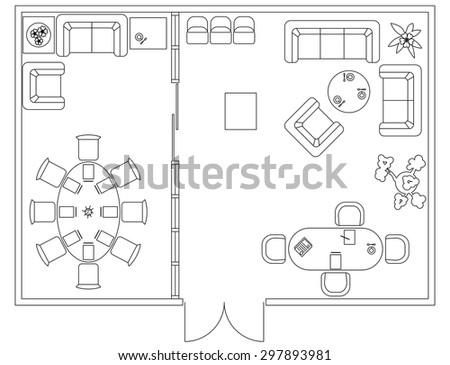 Architectural Set Furniture Design Elements Plan Stock Vector