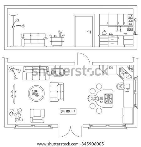 Architectural set of furniture  Objects for building plan  section design   Frontal and top. Architectural Set Furniture Objects Building Plan Stock Vector