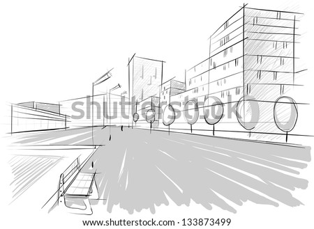 Architectural sketch - stock vector