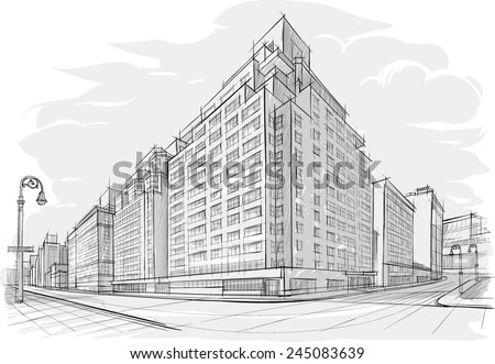 Architectural sketch of street - stock vector