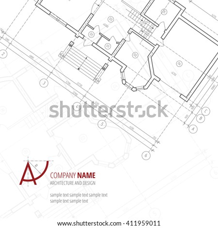 Architectural vector background. Gray building plan silhouette and A-letter logo architecture and design company. - stock vector