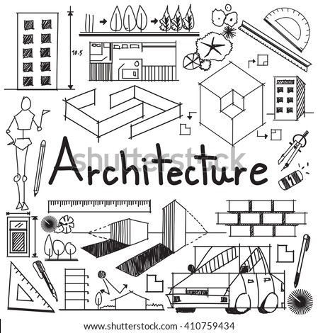 Architecture architect design profession building exterior stock architecture and architect design profession and building exterior blueprint handwriting doodle tool sign and symbol in malvernweather Gallery